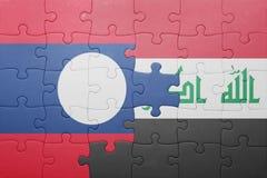 Γρίφος με τη εθνική σημαία του Λάος και του Ιράκ Στοκ Φωτογραφίες