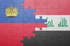 γρίφος με τη εθνική σημαία του Λιχτενστάιν και του Ιράκ Στοκ φωτογραφία με δικαίωμα ελεύθερης χρήσης