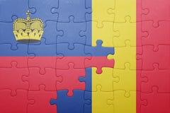 γρίφος με τη εθνική σημαία του Λιχτενστάιν και της Ρουμανίας Στοκ φωτογραφία με δικαίωμα ελεύθερης χρήσης