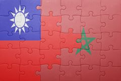 γρίφος με τη εθνική σημαία του Μαρόκου και της Ταϊβάν Στοκ εικόνα με δικαίωμα ελεύθερης χρήσης
