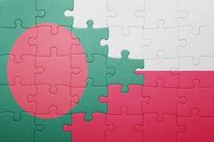 Γρίφος με τη εθνική σημαία του Μπαγκλαντές και της Πολωνίας Στοκ εικόνα με δικαίωμα ελεύθερης χρήσης