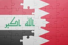 Γρίφος με τη εθνική σημαία του Μπαχρέιν και του Ιράκ Στοκ φωτογραφία με δικαίωμα ελεύθερης χρήσης