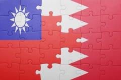 Γρίφος με τη εθνική σημαία του Μπαχρέιν και της Ταϊβάν Στοκ Εικόνες