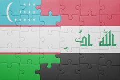 γρίφος με τη εθνική σημαία του Ουζμπεκιστάν και του Ιράκ Στοκ φωτογραφίες με δικαίωμα ελεύθερης χρήσης