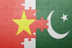 Γρίφος με τη εθνική σημαία του Πακιστάν και του Βιετνάμ Στοκ Εικόνες