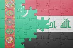γρίφος με τη εθνική σημαία του Τουρκμενιστάν και του Ιράκ Στοκ φωτογραφία με δικαίωμα ελεύθερης χρήσης