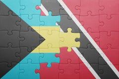 Γρίφος με τη εθνική σημαία του Τρινιδάδ και Τομπάγκο και των Μπαχαμών Στοκ φωτογραφίες με δικαίωμα ελεύθερης χρήσης