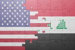 Γρίφος με τη εθνική σημαία των Ηνωμένων Πολιτειών της Αμερικής και του Ιράκ Στοκ φωτογραφία με δικαίωμα ελεύθερης χρήσης