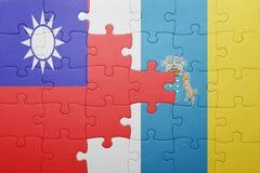 γρίφος με τη εθνική σημαία των Κανάριων νησιών και της Ταϊβάν Στοκ φωτογραφίες με δικαίωμα ελεύθερης χρήσης