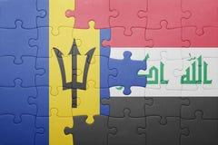 γρίφος με τη εθνική σημαία των Μπαρμπάντος και του Ιράκ Στοκ Εικόνες