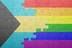 Γρίφος με τη εθνική σημαία των Μπαχαμών και την ομοφυλοφιλική σημαία Στοκ εικόνες με δικαίωμα ελεύθερης χρήσης