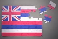 Γρίφος με τη σημαία του κράτους της Χαβάης Στοκ εικόνες με δικαίωμα ελεύθερης χρήσης