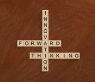 Γρίφος σταυρόλεξων με την καινοτομία λέξεων, μπροστινός, σκέψη Innov Στοκ Εικόνα