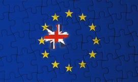 Γρίφος τορνευτικών πριονιών ένωσης Brexit, του Ηνωμένου Βασιλείου και της Ευρώπης Στοκ Εικόνες