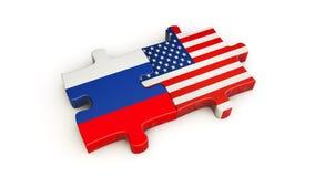 γρίφος τορνευτικών πριονιών συνεργασίας των ΗΠΑ και της Ρωσίας Στοκ Εικόνα