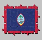 Γρίφος τορνευτικών πριονιών της σημαίας του Γκουάμ στο σκούρο μπλε υπόβαθρο με λεπτά κόκκινα σύνορα και η σφραγίδα του Γκουάμ διανυσματική απεικόνιση