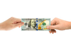 γρίφος χρημάτων χεριών Στοκ φωτογραφία με δικαίωμα ελεύθερης χρήσης