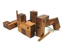 γρίφος 6 κύβων ξύλινος Στοκ Φωτογραφίες