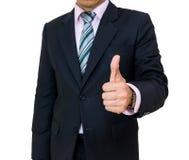 Γραβάτα κοστουμιών επιχειρηματιών με τον αντίχειρα επάνω όπως Στοκ Φωτογραφίες