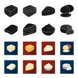 Γραβιέρα, camembert, mascarpone, gorgonzola Οι διαφορετικοί τύποι καθορισμένων εικονιδίων συλλογής τυριών στο Μαύρο, flet ορίζουν Στοκ Εικόνες