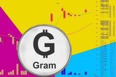 Γραμμάριο cryptocurrency νομισμάτων στο διάγραμμα και το κίτρινο μπλε υπόβαθρο νέου στοκ φωτογραφία