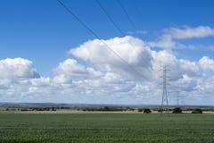 Γραμμές ηλεκτρικής δύναμης, αγροτική Νότια Αυστραλία Στοκ φωτογραφία με δικαίωμα ελεύθερης χρήσης