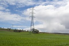 Γραμμές ηλεκτρικής δύναμης, αγροτική Νότια Αυστραλία Στοκ φωτογραφίες με δικαίωμα ελεύθερης χρήσης