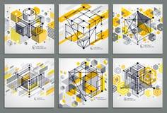 Γραμμές και αφηρημένα διανυσματικά isometric τρισδιάστατα κίτρινα υπόβαθρα μορφών Στοκ Εικόνες