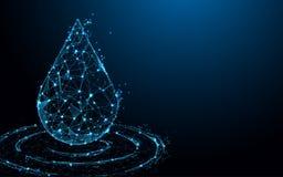 Γραμμές μορφής πτώσης νερού, τρίγωνα και σχέδιο ύφους μορίων