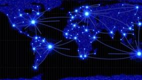 Γραμμές που παρουσιάζουν χώρες που συνδέουν στον παγκόσμιο χάρτη διανυσματική απεικόνιση