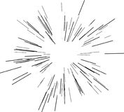 Γραμμές ταχύτητας Ακτινοβολώντας από το κέντρο των λεπτών ακτίνων, γραμμές επίσης corel σύρετε το διάνυσμα απεικόνισης Ο Μαύρος ε Στοκ Εικόνες