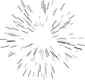 Γραμμές ταχύτητας Ακτινοβολώντας από το κέντρο των λεπτών ακτίνων, γραμμές επίσης corel σύρετε το διάνυσμα απεικόνισης Ο Μαύρος ε Στοκ Φωτογραφίες