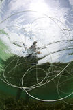 γραμμή αλιείας υποβρύχια Στοκ εικόνες με δικαίωμα ελεύθερης χρήσης