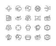 Γραμμή εικονίδια 360 βαθμών Στοκ Φωτογραφίες