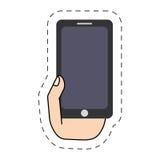 γραμμή εικονίδιο-περικοπών smartphone εκμετάλλευσης χεριών Στοκ Εικόνες