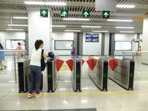 Γραμμή 11, εσωτερικό τοπίο μετρό Shenzhen σταθμών μετρό Baoan Στοκ Εικόνα