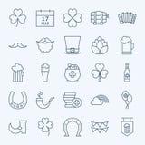Γραμμή ιρλανδικός Άγιος Πάτρικ Day Icons Set Στοκ Εικόνες