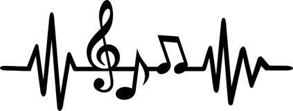 Γραμμή κτύπου της καρδιάς μουσικής με τις σημειώσεις ελεύθερη απεικόνιση δικαιώματος