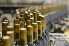 Γραμμή μεταφορέων για την εμφιάλωση του κρασιού στα μπουκάλια Στοκ φωτογραφία με δικαίωμα ελεύθερης χρήσης