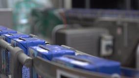 Γραμμή μεταφορέων στις γαλακτοκομικές εγκαταστάσεις Γαλακτοκομικά προϊόντα στη συσκευασία εγγράφου απόθεμα βίντεο