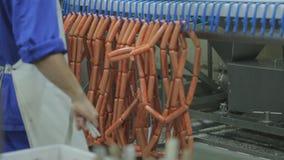 Γραμμή παραγωγής και συσκευασία των αλλαντιδίων τύπου Φρανκφούρτης μέσα στο σφαγείο καταστημάτων απόθεμα βίντεο
