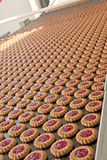 Γραμμή παραγωγής των μπισκότων μαρμελάδας στοκ εικόνες