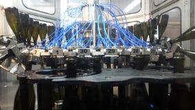 Γραμμή πλύσης για τα μπουκάλια και εμφιαλώνοντας μεταφορέας σαμπάνιας στο εργοστάσιο απόθεμα βίντεο