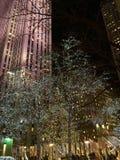 Γραμμή φω'των Χριστουγέννων οι οδοί της Νέας Υόρκης Στοκ Φωτογραφίες