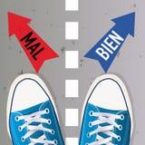 Γραμμή χωρισμού μεταξύ του του καλού και του κακού Η επιλογή μεταξύ δύο λύσεων διανυσματική απεικόνιση