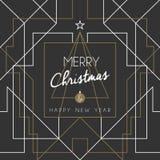 Γραμμή deco τέχνης δέντρων καλής χρονιάς Χαρούμενα Χριστούγεννας Στοκ Εικόνες