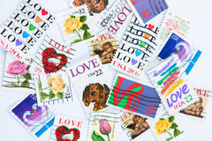 Γραμματόσημα αγάπης στο άσπρο υπόβαθρο Στοκ εικόνες με δικαίωμα ελεύθερης χρήσης