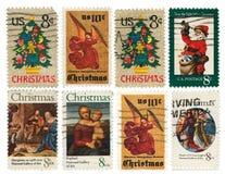 γραμματόσημα απεικόνισης στοιχείων σχεδίου συλλογής Χριστουγέννων στοκ φωτογραφίες με δικαίωμα ελεύθερης χρήσης