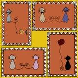 Γραμματόσημα γατών Στοκ Εικόνες