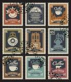 Γραμματόσημα για τα σπίτια καφέ ελεύθερη απεικόνιση δικαιώματος